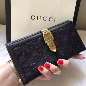 GUCCI Horsebit Embossed Leather Long Wallet Clutch